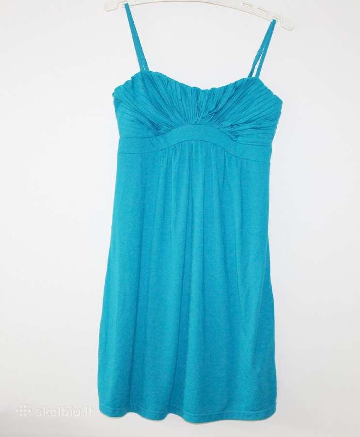 Puošni turkio spalvos suknelė