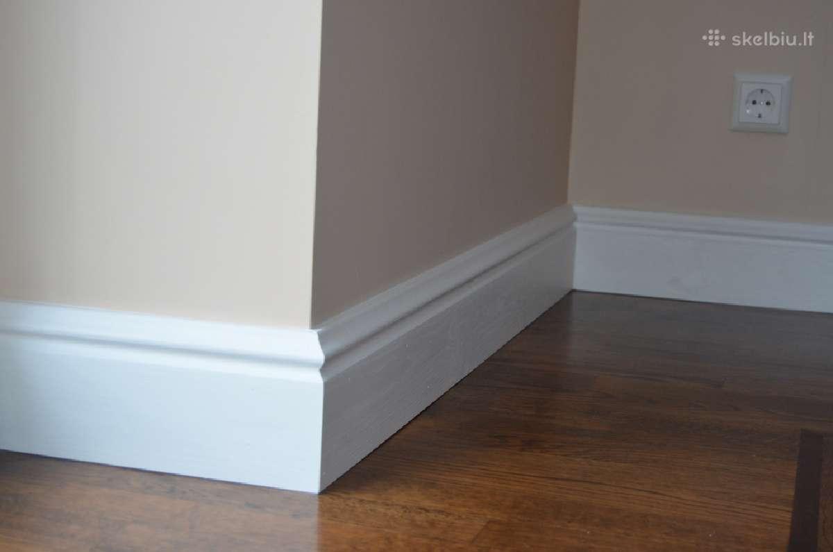 Grindjuostės grindjuosčių montavimas,lakavimas daž