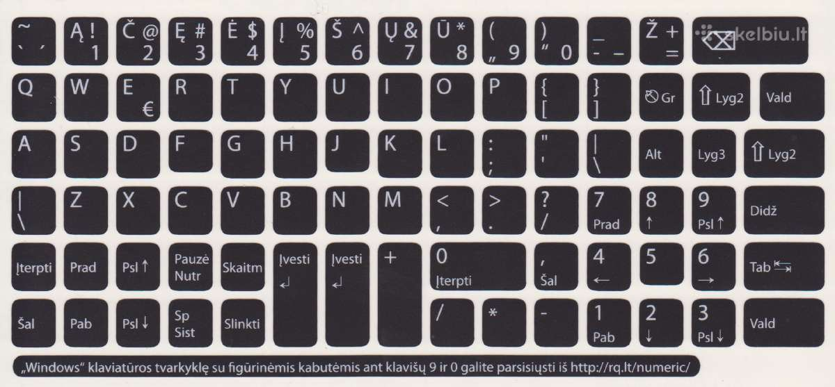 Ypač kokybiški lipdukai klaviatūrai su Lt raidėmis