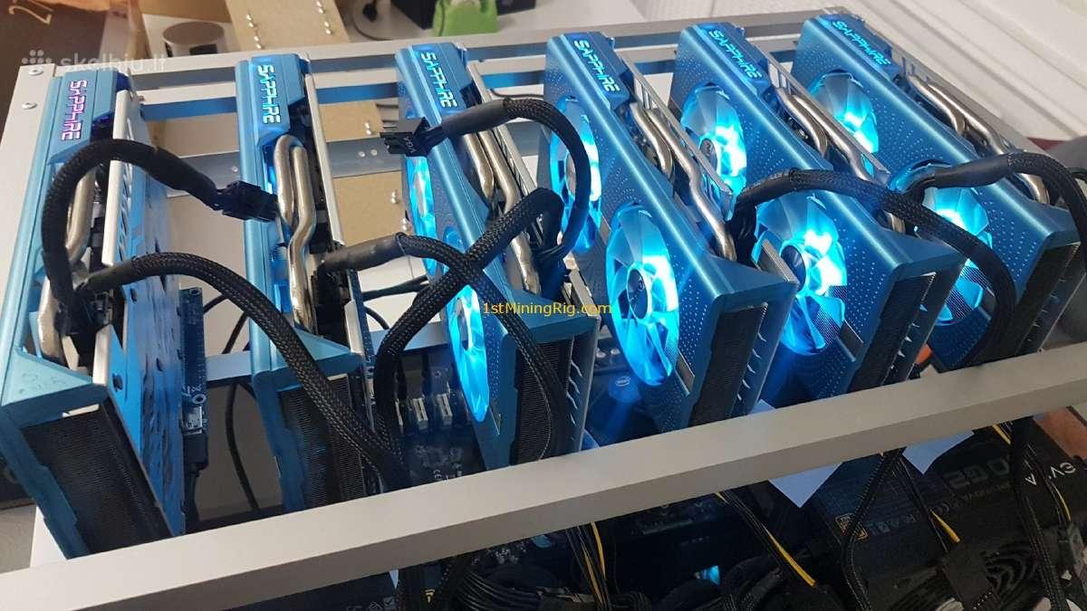 Vaizdo plokštės Rx 570/580 ir kita įranga rigams