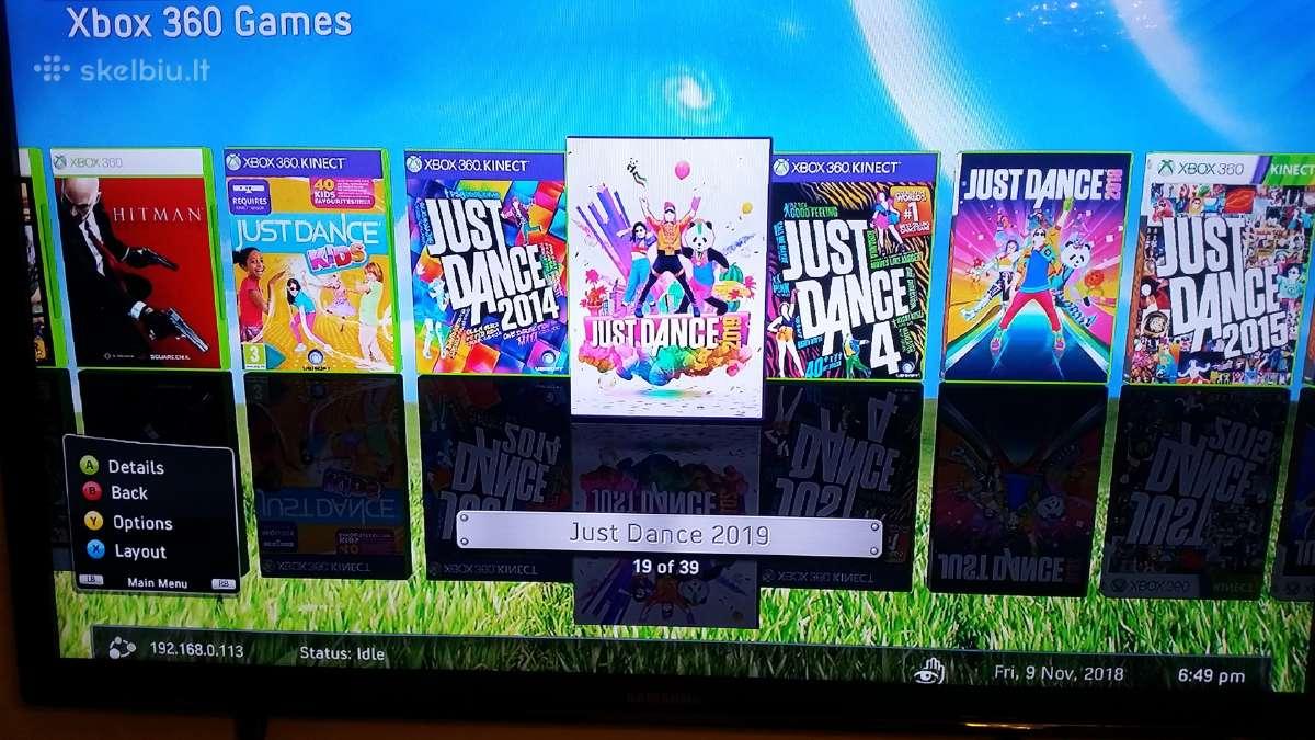 Xbox360 Rgh atristas 500gb 2 pulteliai Kinect kame