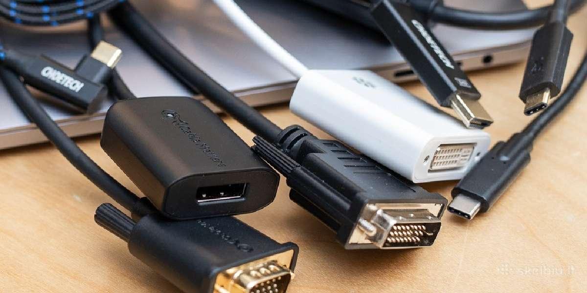 Hdmi, Dvi, Dp ir kt. kabeliai, adapteriai, jungtys