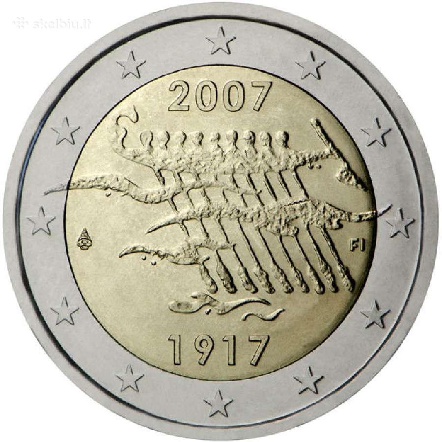 """Suomija 2 euro 2007 """"Suomijos nepriklausomybė"""" Unc"""