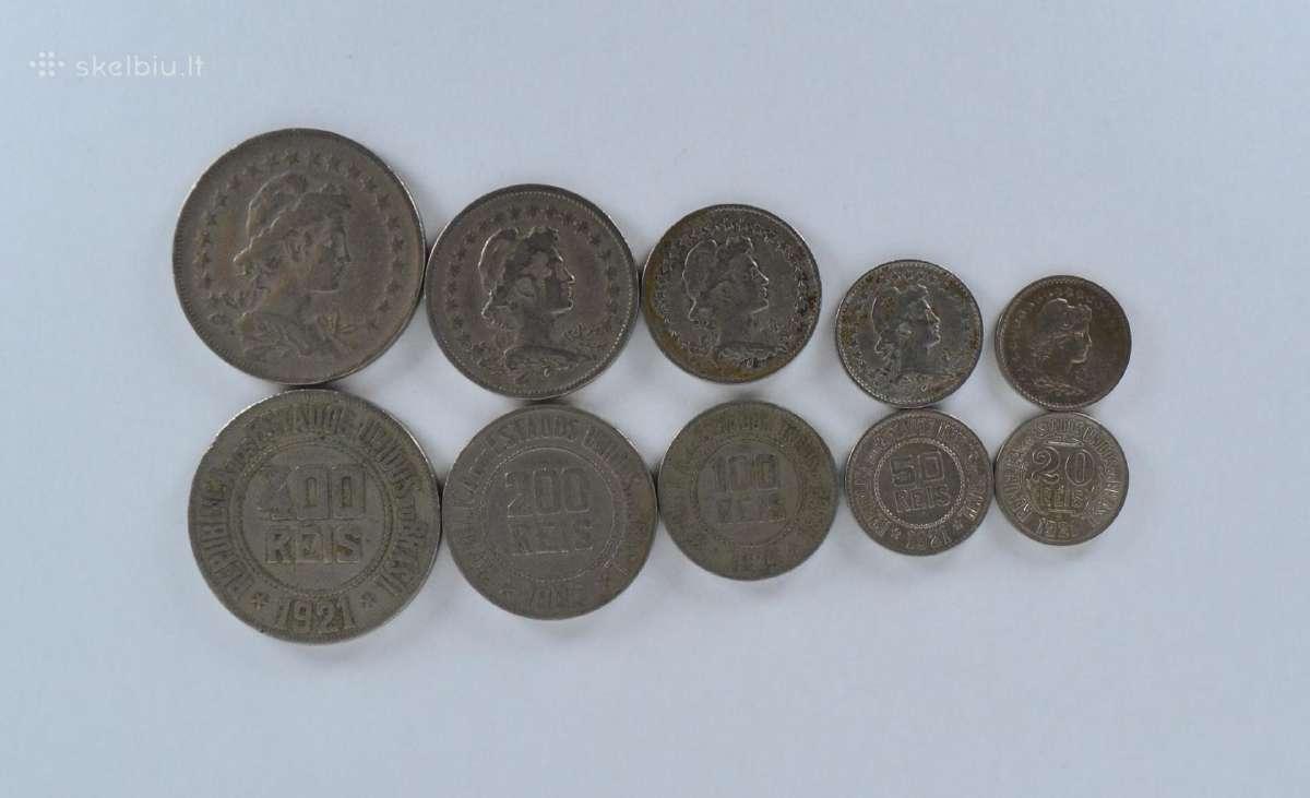 Brazilija 5 monetų rinkinys seno tipo