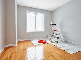 Sienų ir lubų glaistymas, dažymas
