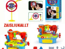Vaikiškas vairas į masiną ir darbo įrankiai