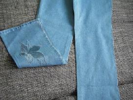 Dzinsines pamprios kelnes su siuvinejimu - nuotraukos Nr. 3