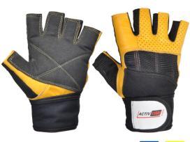 Sportinės odines pirštinės su riešo apsauga