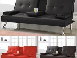 Nauja odinė sofa - lova su bariuku