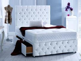 Nauja klasikinė odinė lova su čiužiniu