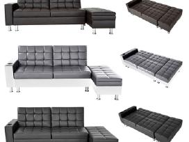 Nauja odinė sofa - lova su pufu