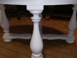 Apvalus, baltas stalas su žalio marmuro plokste - nuotraukos Nr. 2