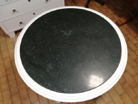 Apvalus, baltas stalas su žalio marmuro plokste - nuotraukos Nr. 3