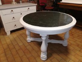 Apvalus, baltas stalas su žalio marmuro plokste - nuotraukos Nr. 4