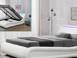 Nauja odinė lova su Led ir patalynės dėže