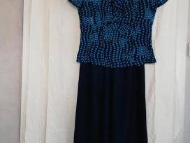 Tamsiai mėlynai žydras kelnių kostiumėlis